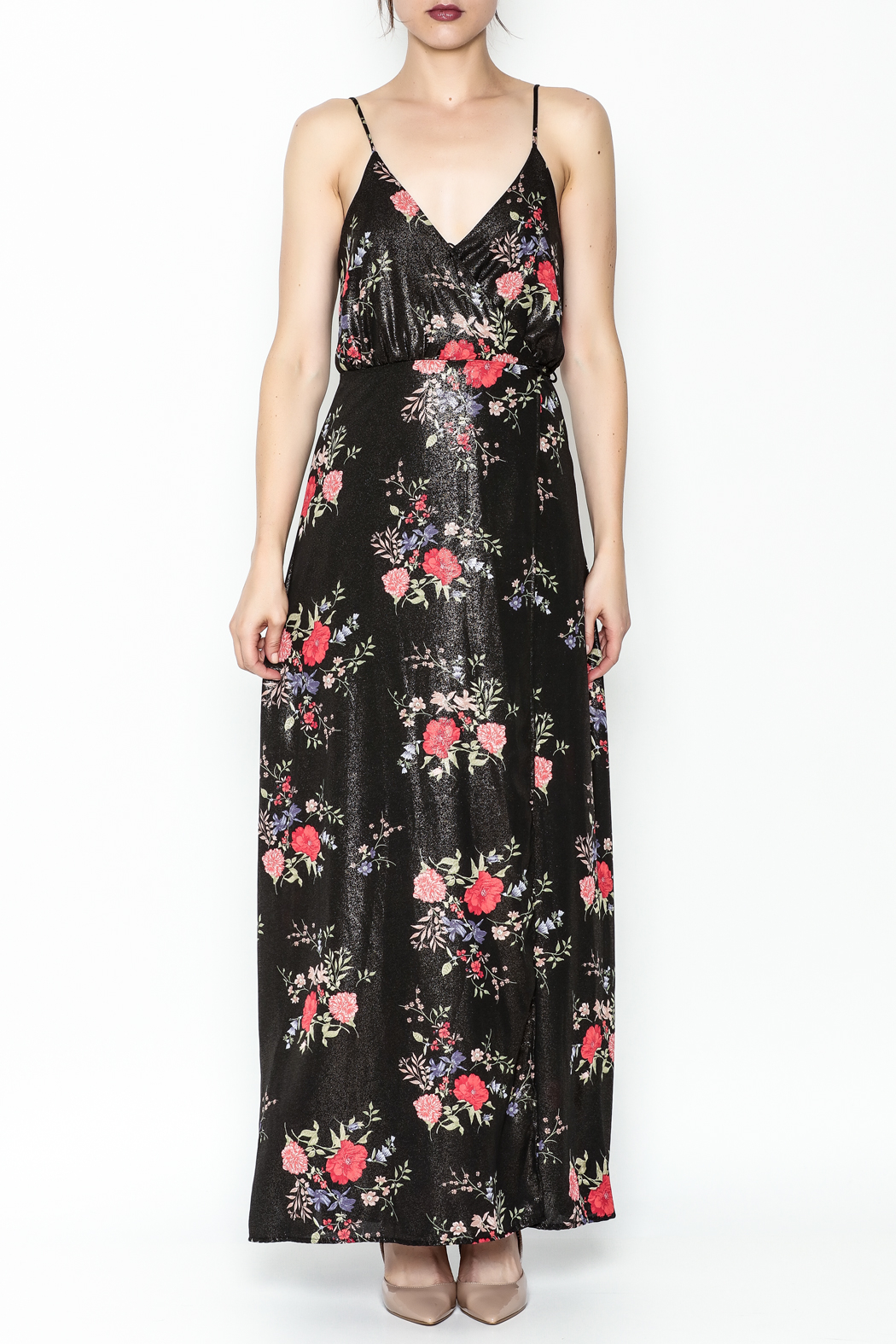 honey belle Floral Metallic Maxi Dress - Front Full Image