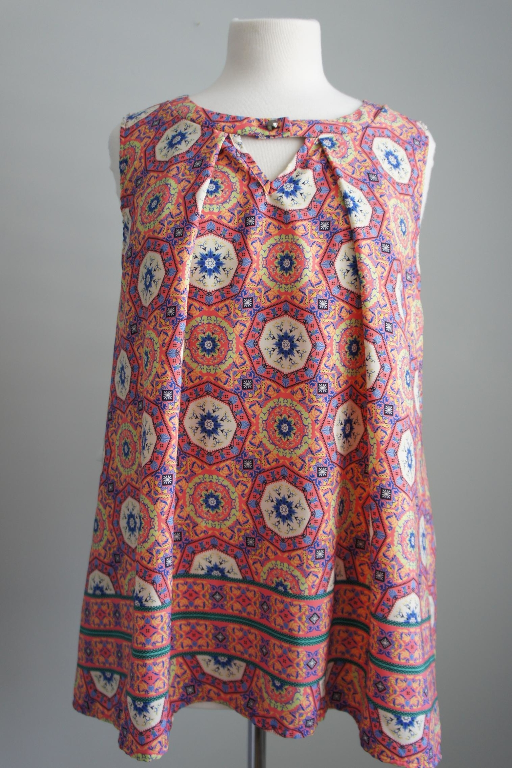 honey Boho Print Top - Front Cropped Image