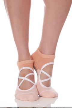 Honey Lucky Criss Cross Ballet Barre Sock with Grips - Product List Image