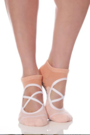 Honey Lucky Criss Cross Ballet Barre Sock with Grips - Front cropped