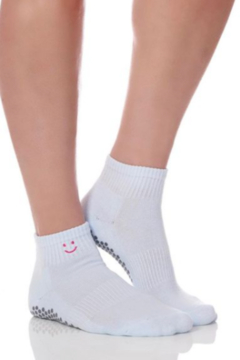 Honey Lucky Light Blue Smiley Barre Sock with Grips - Product List Image