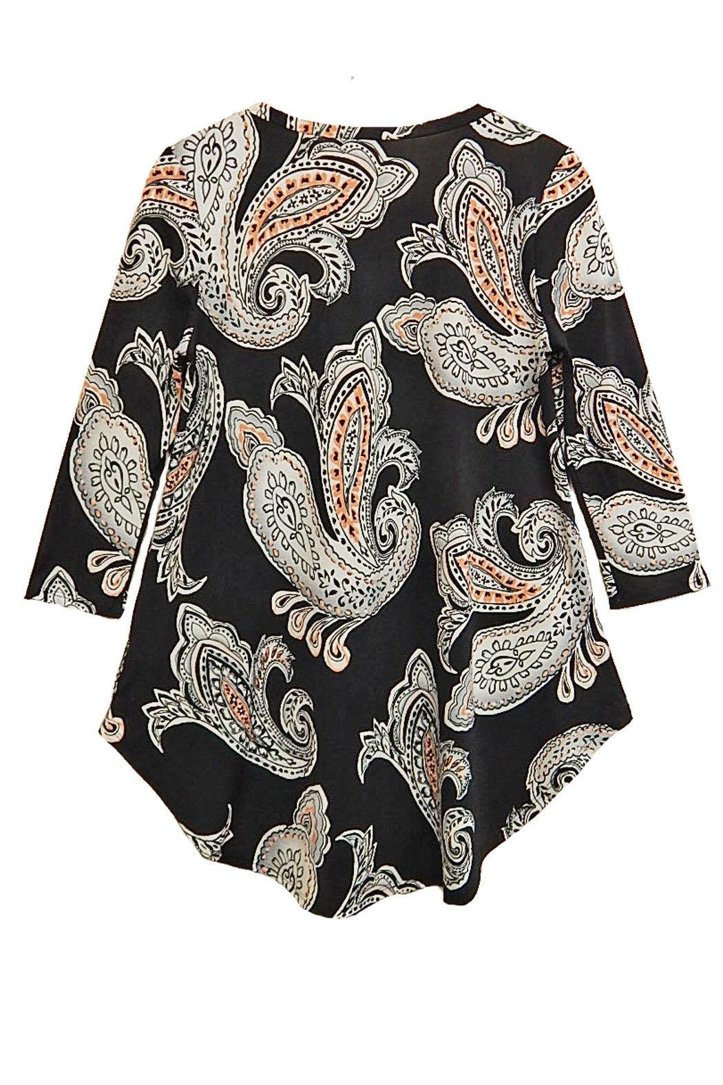 honeyme Peach Paisley Top - Front Full Image