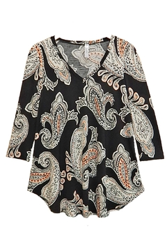 honeyme Peach Paisley Top - Product List Image