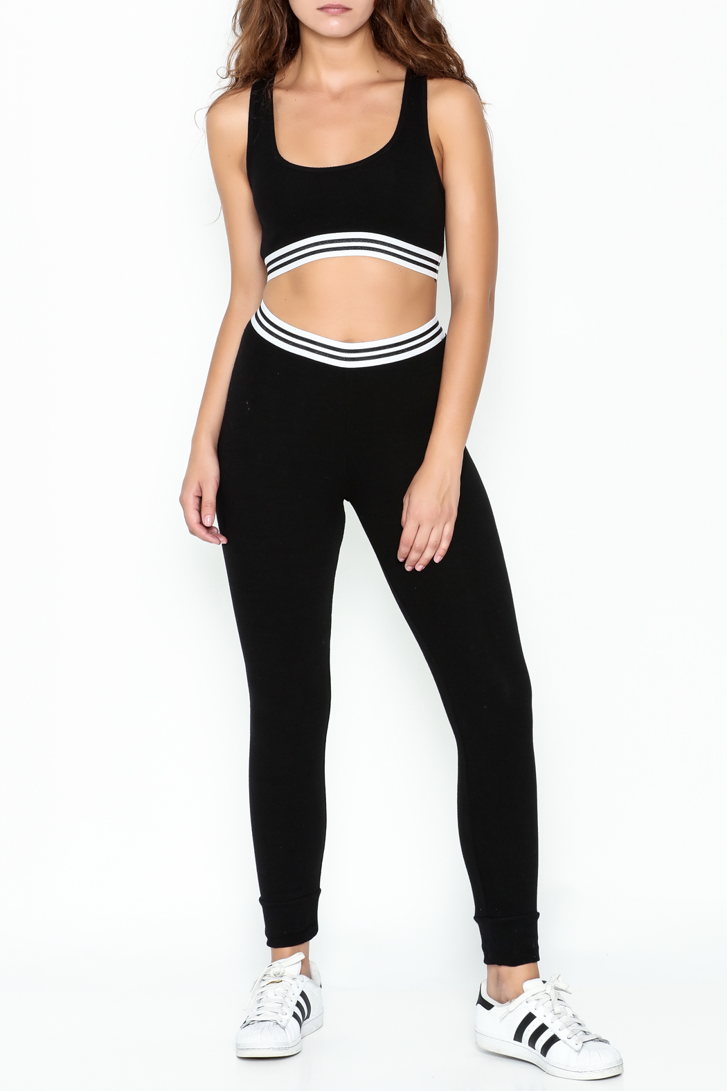 Honey Punch Athletic Stripe Pants - Side Cropped Image
