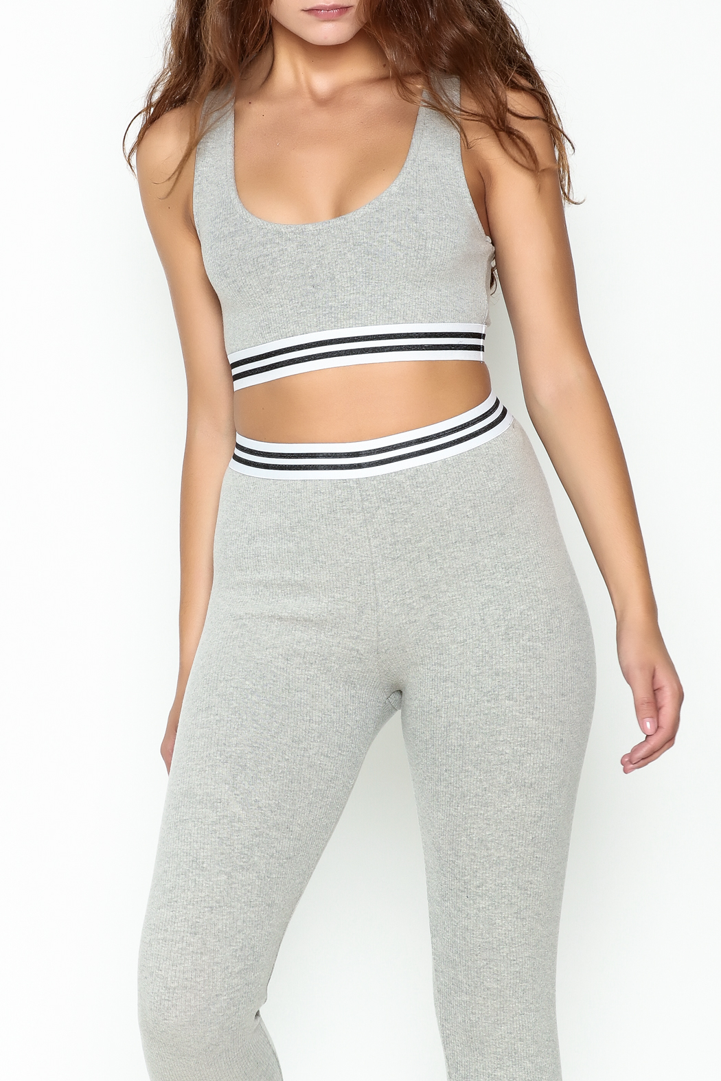 Honey Punch Athletic Stripe Sports Bra - Front Cropped Image