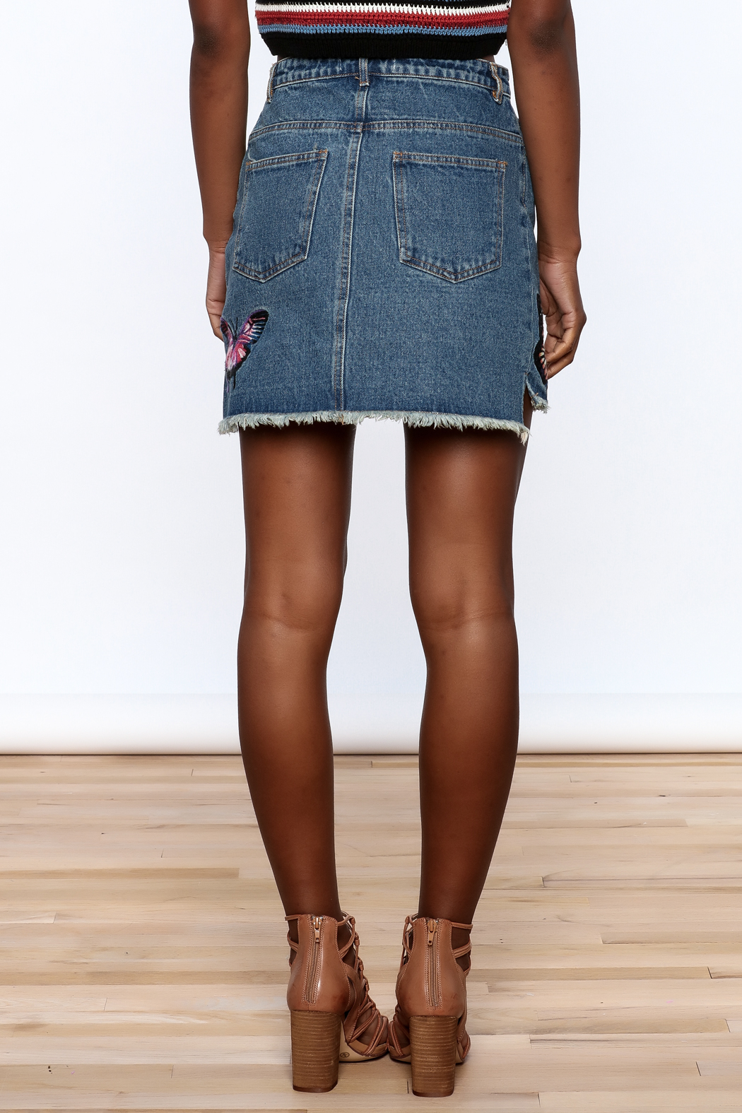 Honey Punch Denim Butterfly Embroidered Skirt - Back Cropped Image