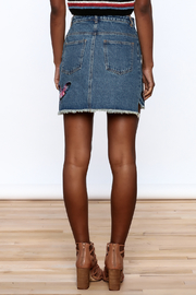 Honey Punch Denim Butterfly Embroidered Skirt - Back cropped