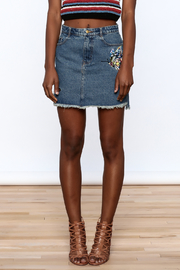 Honey Punch Denim Butterfly Embroidered Skirt - Side cropped