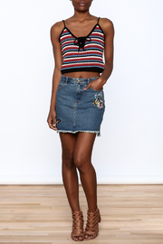 Honey Punch Denim Butterfly Embroidered Skirt - Front full body