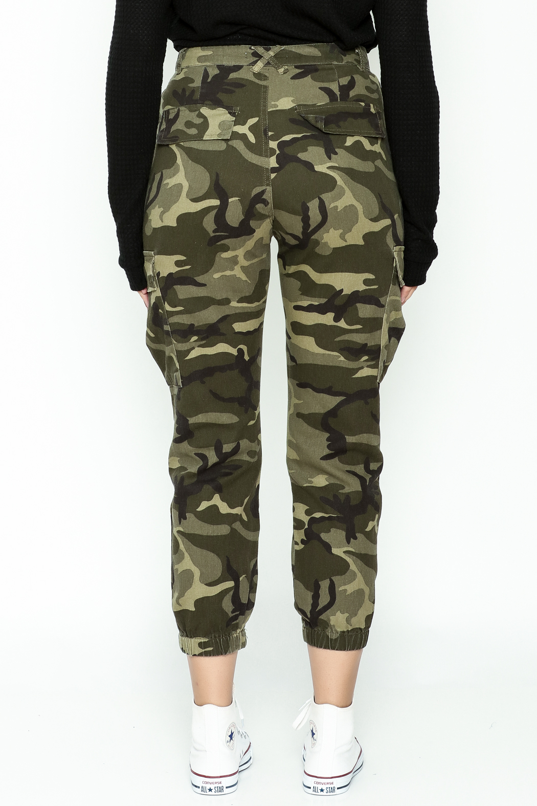 Honey Punch Camo Cargo Pants - Back Cropped Image