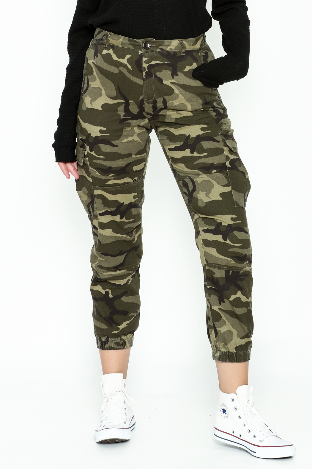 Honey Punch Camo Cargo Pants - Main Image