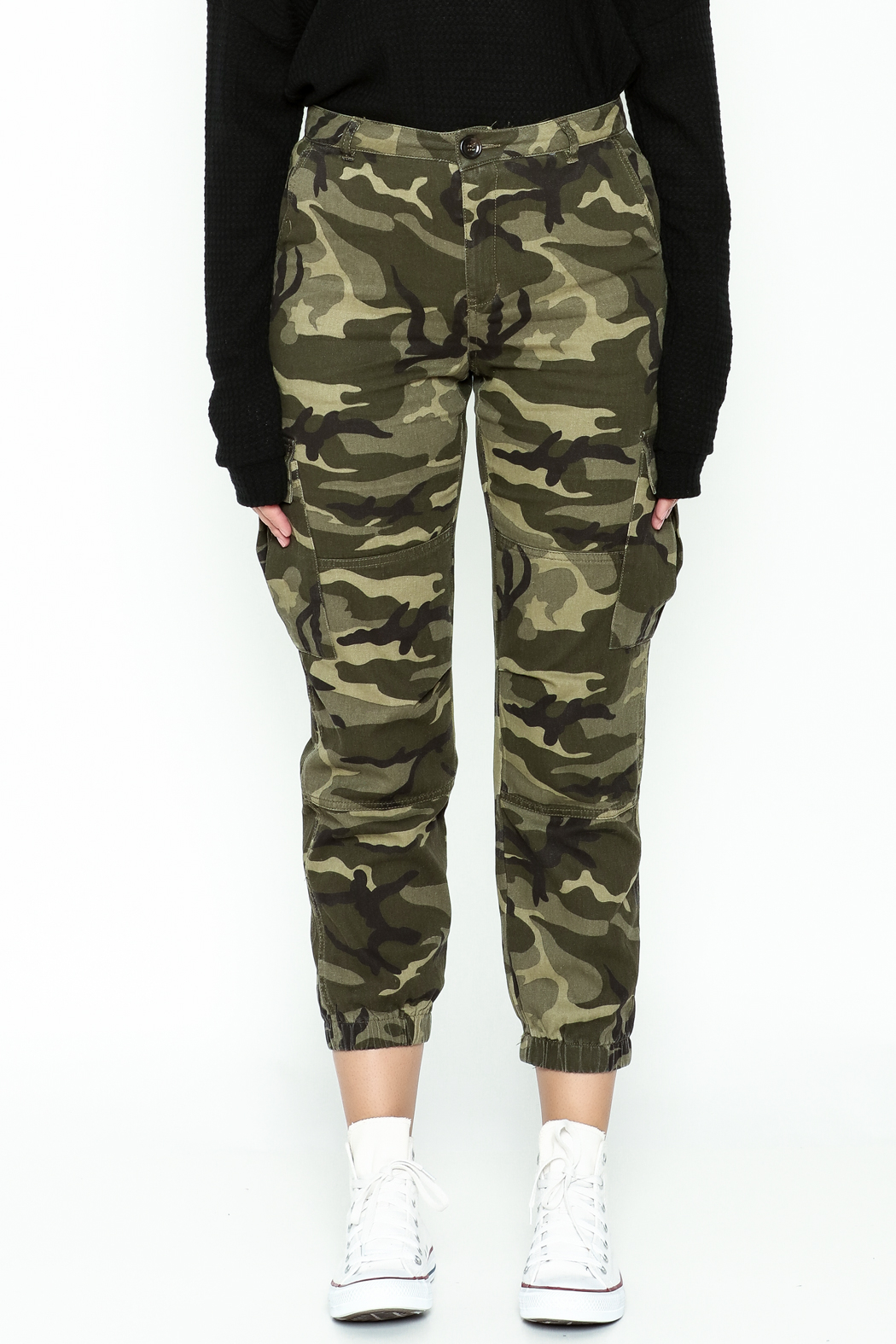 Honey Punch Camo Cargo Pants - Front Full Image