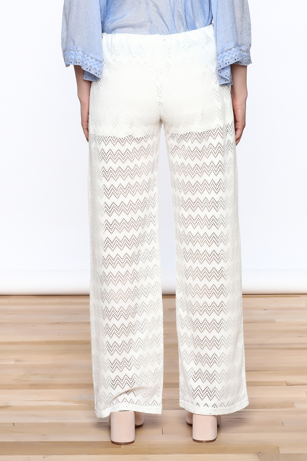 Honey Punch Chevron Knit Pants - Back Cropped Image
