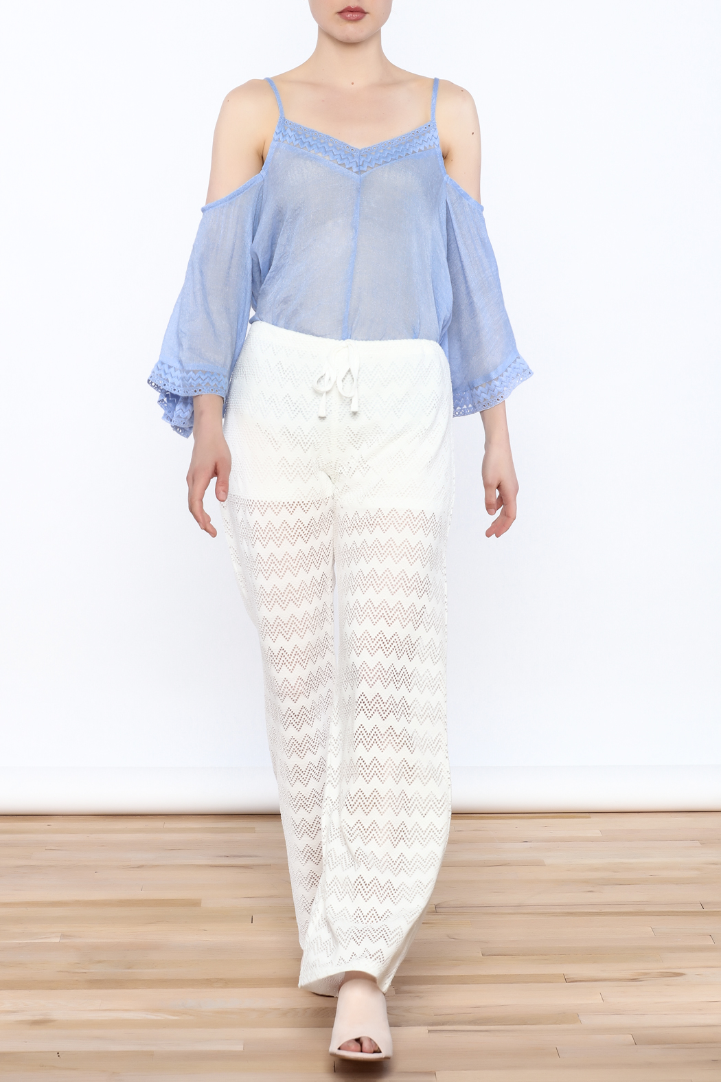 Honey Punch Chevron Knit Pants - Side Cropped Image