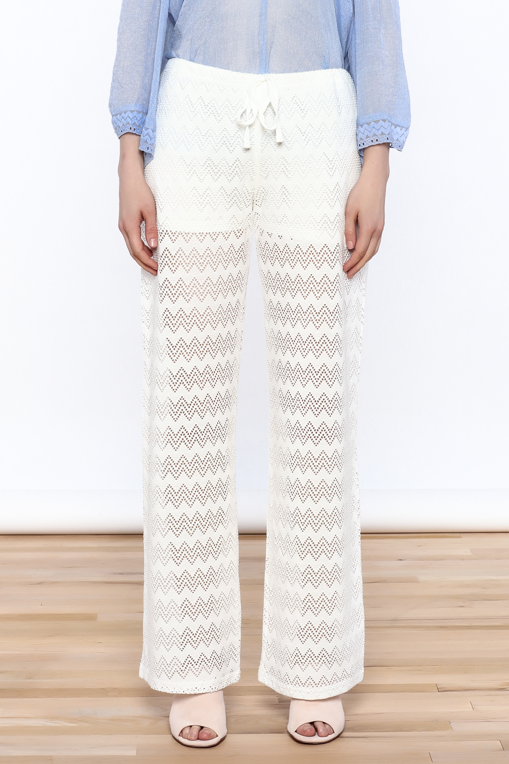 Honey Punch Chevron Knit Pants - Front Full Image