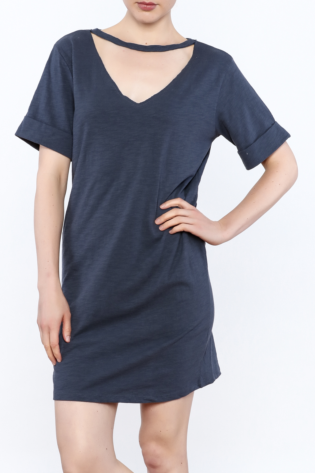 Honey Punch Choker T-Shirt Dress - Front Cropped Image