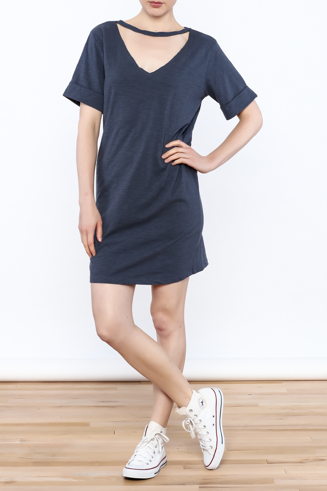Honey Punch Choker T-Shirt Dress - Side Cropped Image