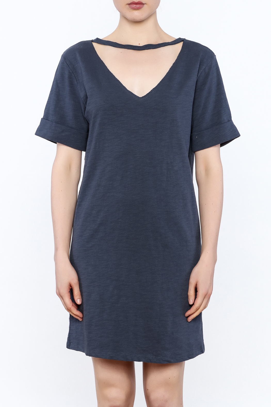 Honey Punch Choker T-Shirt Dress - Front Full Image