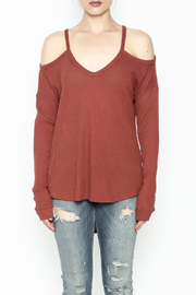 Honey Punch Cold Shoulder Top - Front full body
