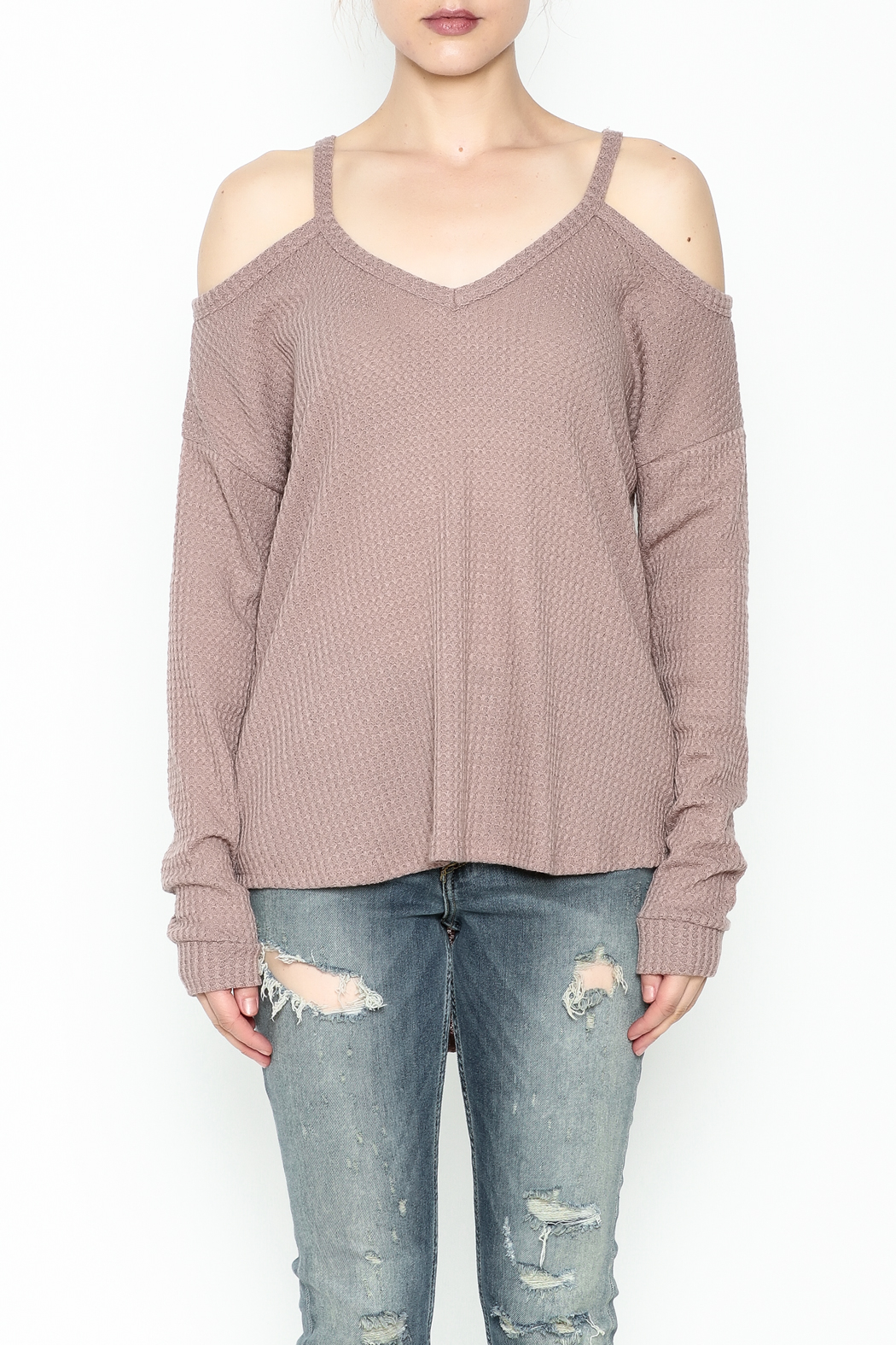 Honey Punch Cold Shoulder Top - Front Full Image