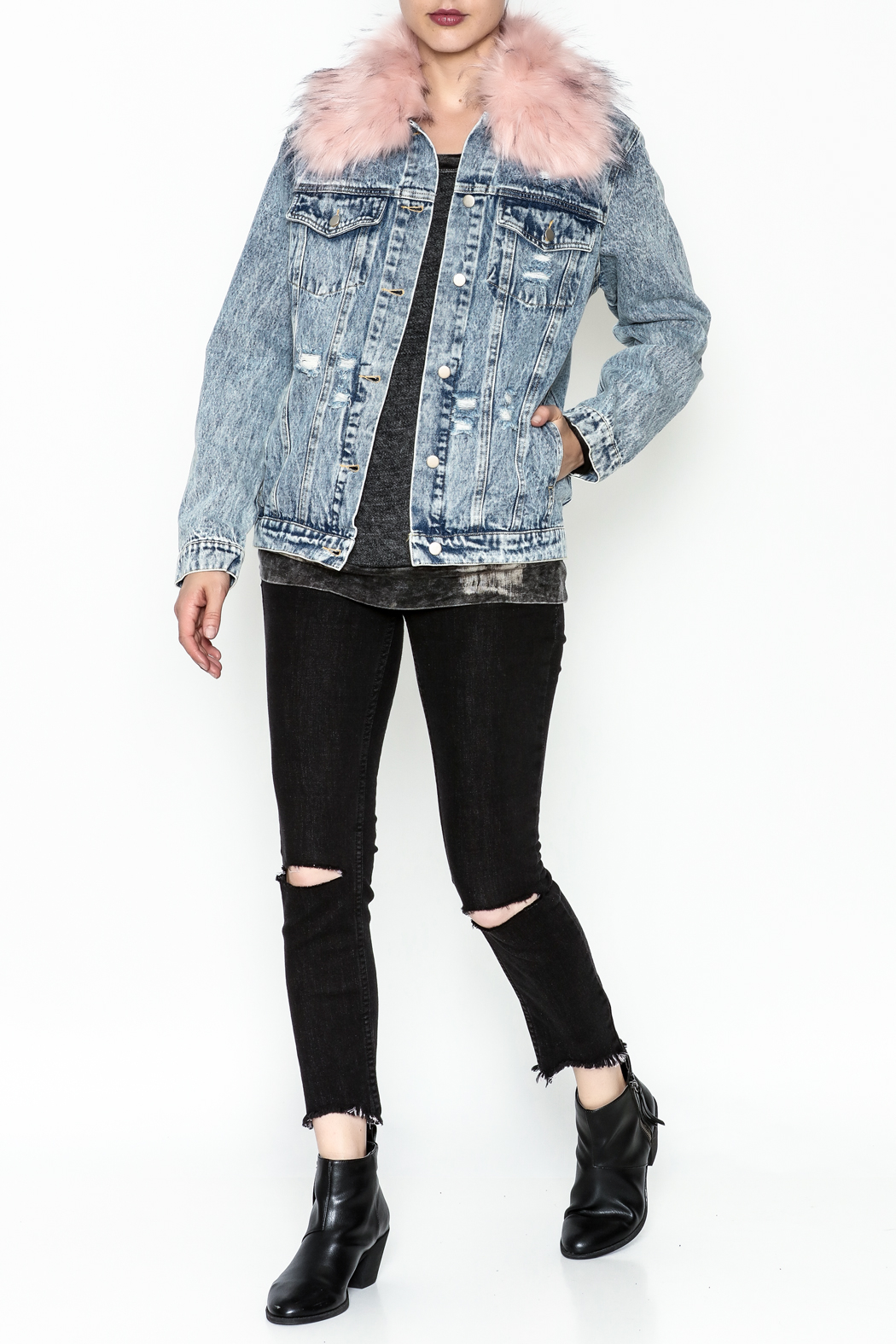 Honey Punch Denim Jacket - Side Cropped Image