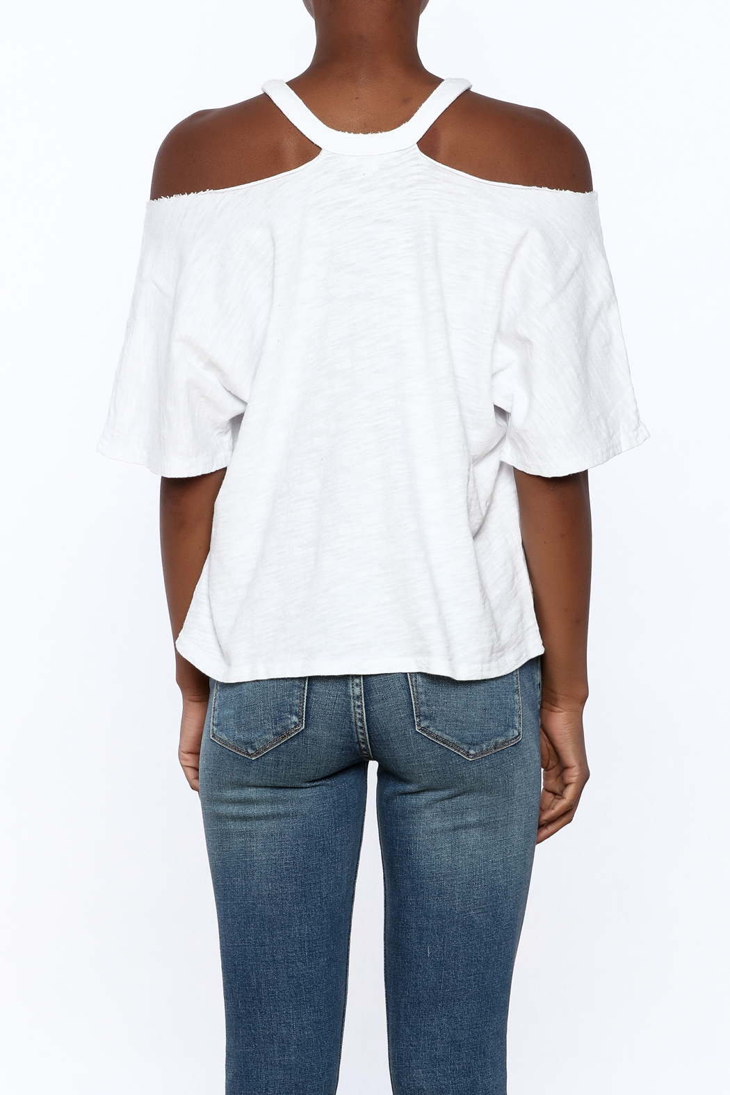 Honey Punch White Distressed Tee - Back Cropped Image