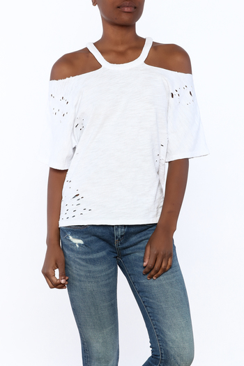 Shoptiques Product: White Distressed Tee - main