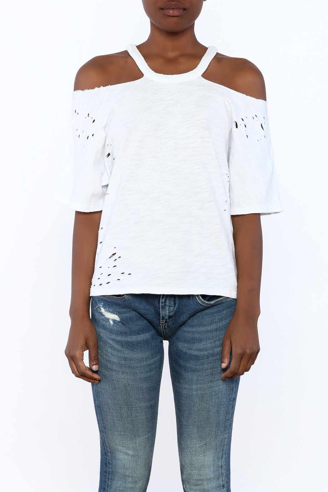 Honey Punch White Distressed Tee - Side Cropped Image