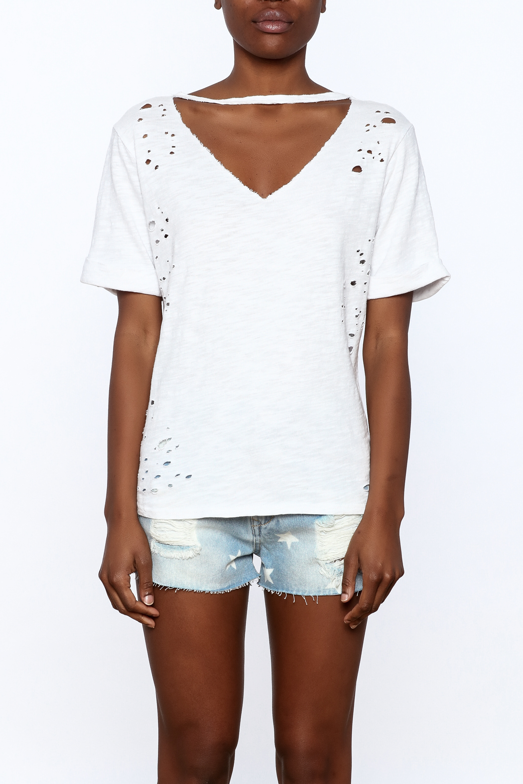 Honey Punch Distressed Tee - Side Cropped Image