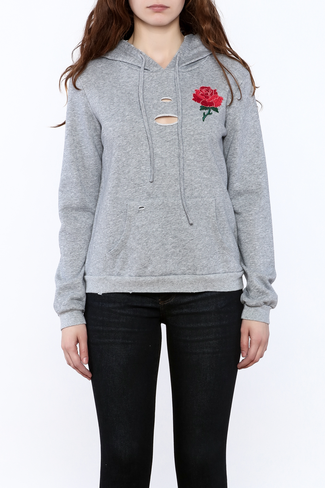 Honey Punch Grey Embroidered Sweater - Side Cropped Image