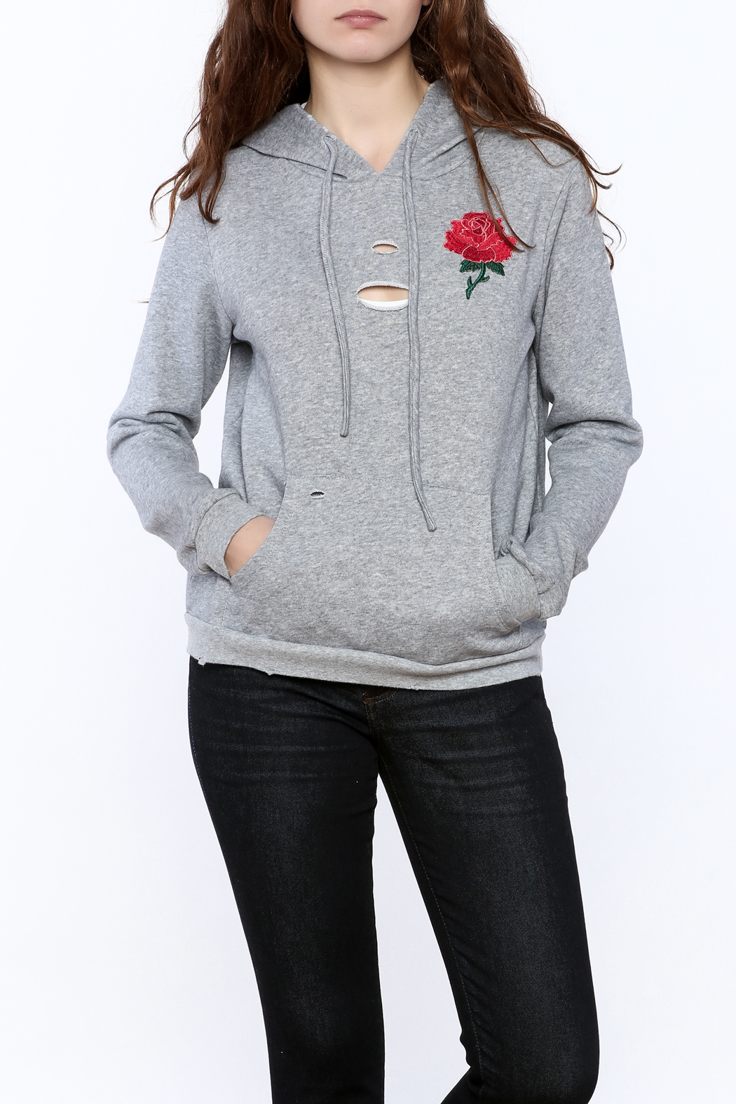 Honey Punch Grey Embroidered Sweater - Front Cropped Image