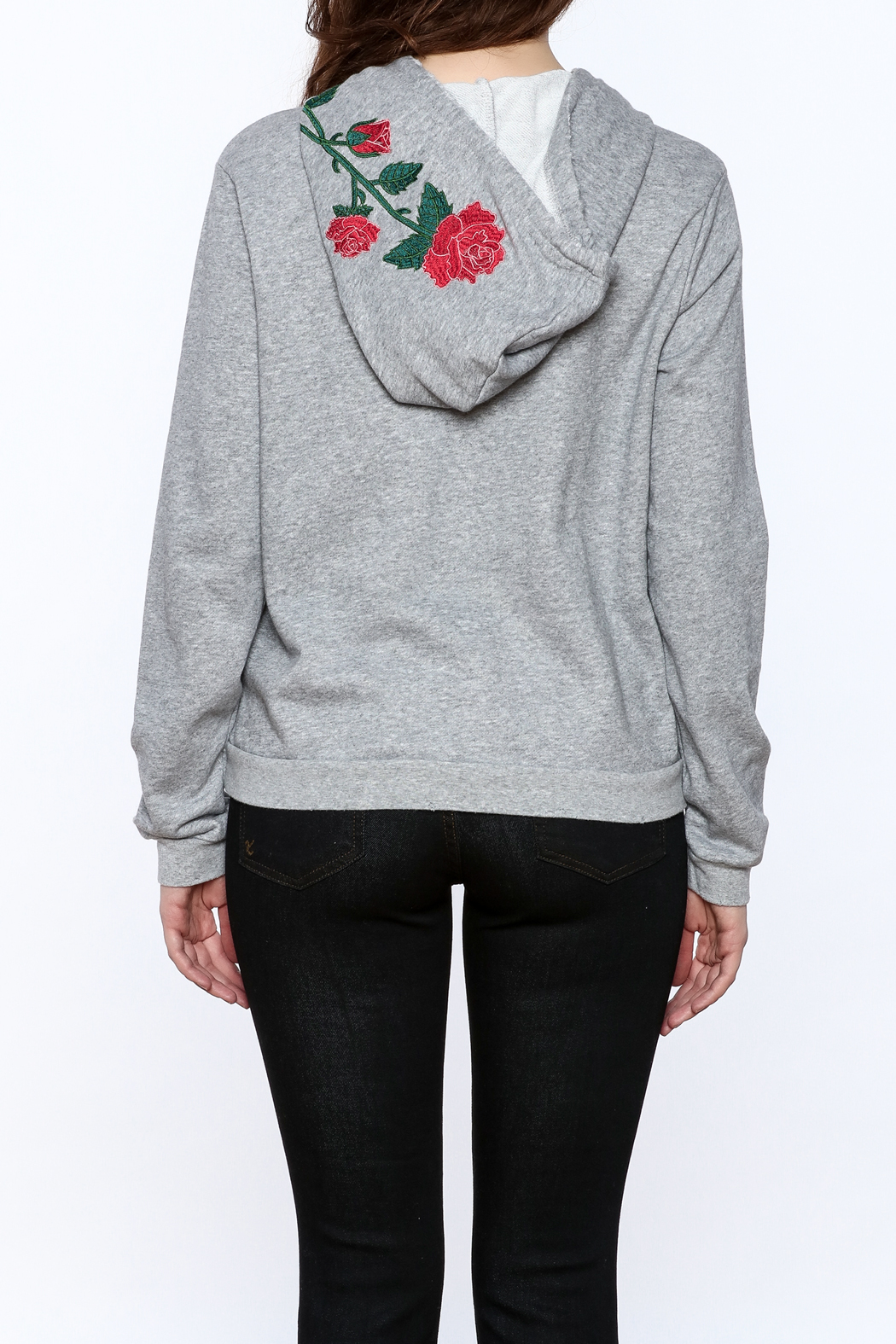 Honey Punch Grey Embroidered Sweater - Back Cropped Image
