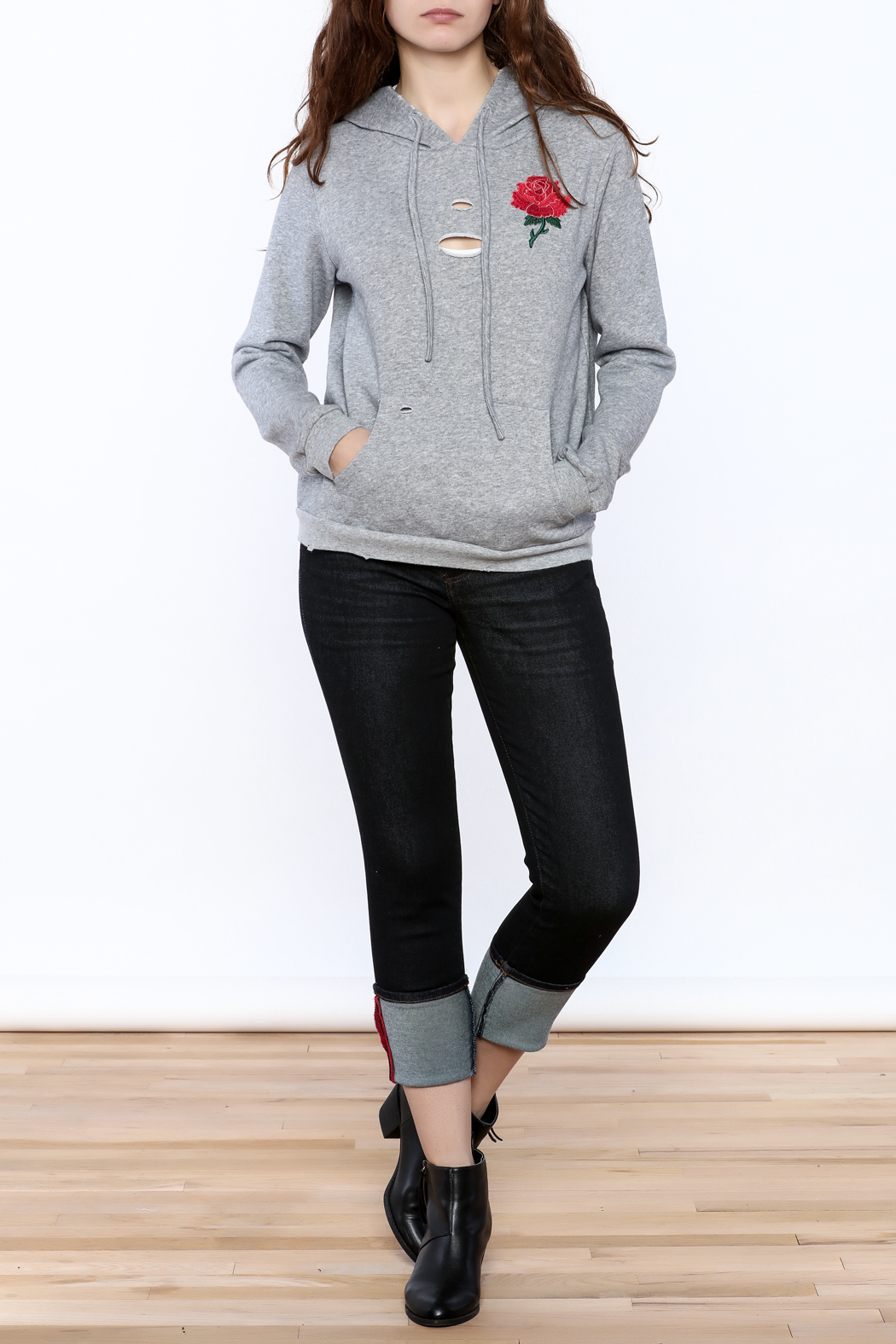 Honey Punch Grey Embroidered Sweater - Front Full Image