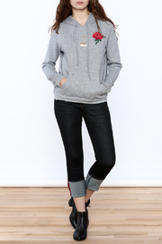 Honey Punch Grey Embroidered Sweater - Front full body