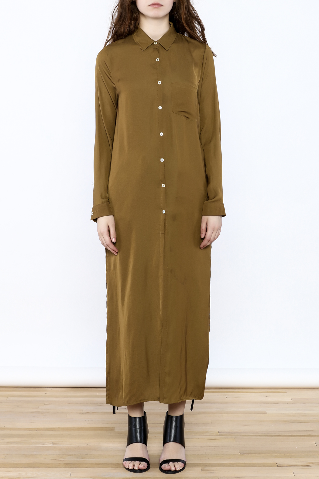 Honey Punch Olive Button-Down Maxi Dress - Front Cropped Image