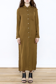 Honey Punch Olive Button-Down Maxi Dress - Front cropped