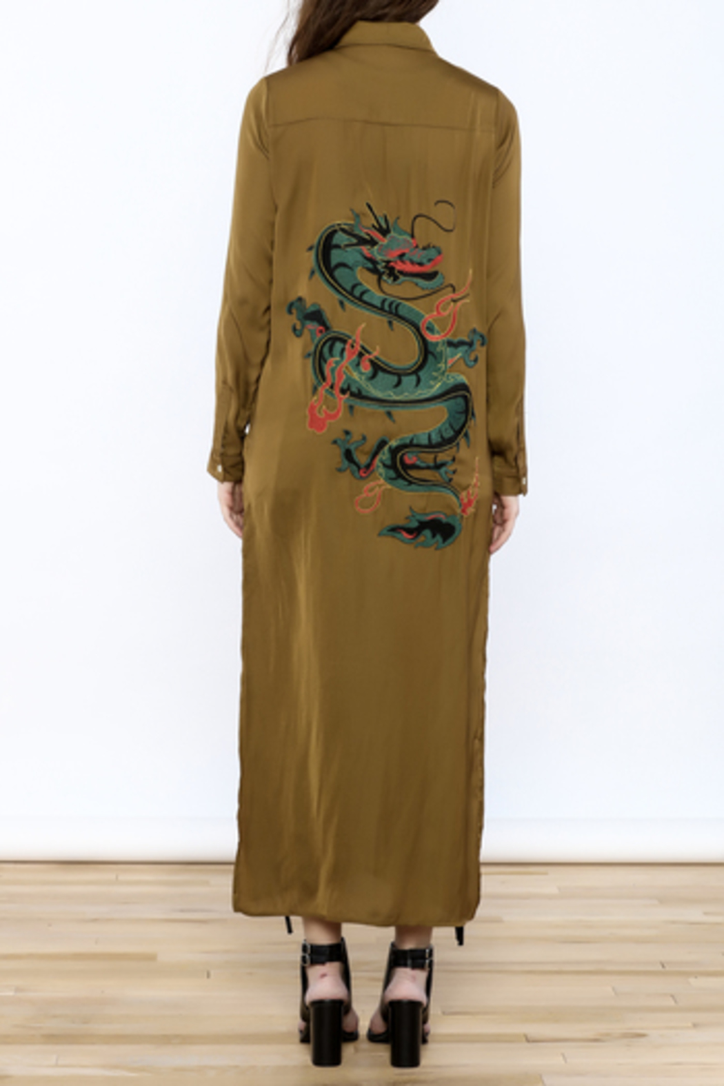 Honey Punch Olive Button-Down Maxi Dress - Front Full Image