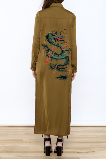 Honey Punch Olive Button-Down Maxi Dress - Main Image