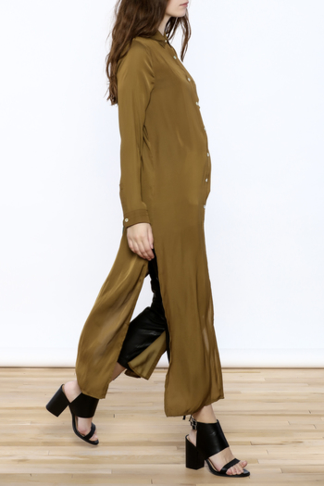 Honey Punch Olive Button-Down Maxi Dress - Back Cropped Image