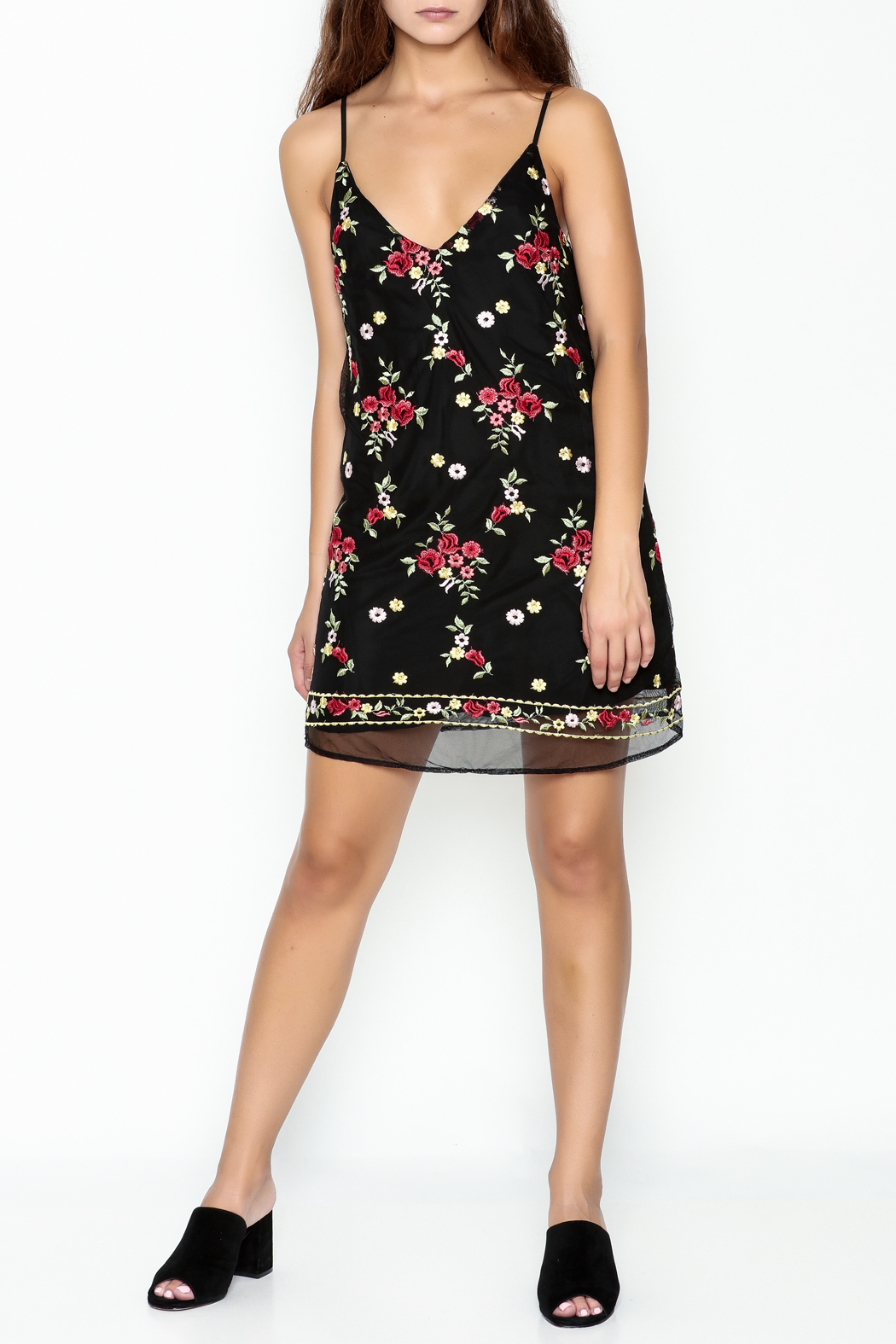 Honey Punch Floral Embroidered Dress - Side Cropped Image