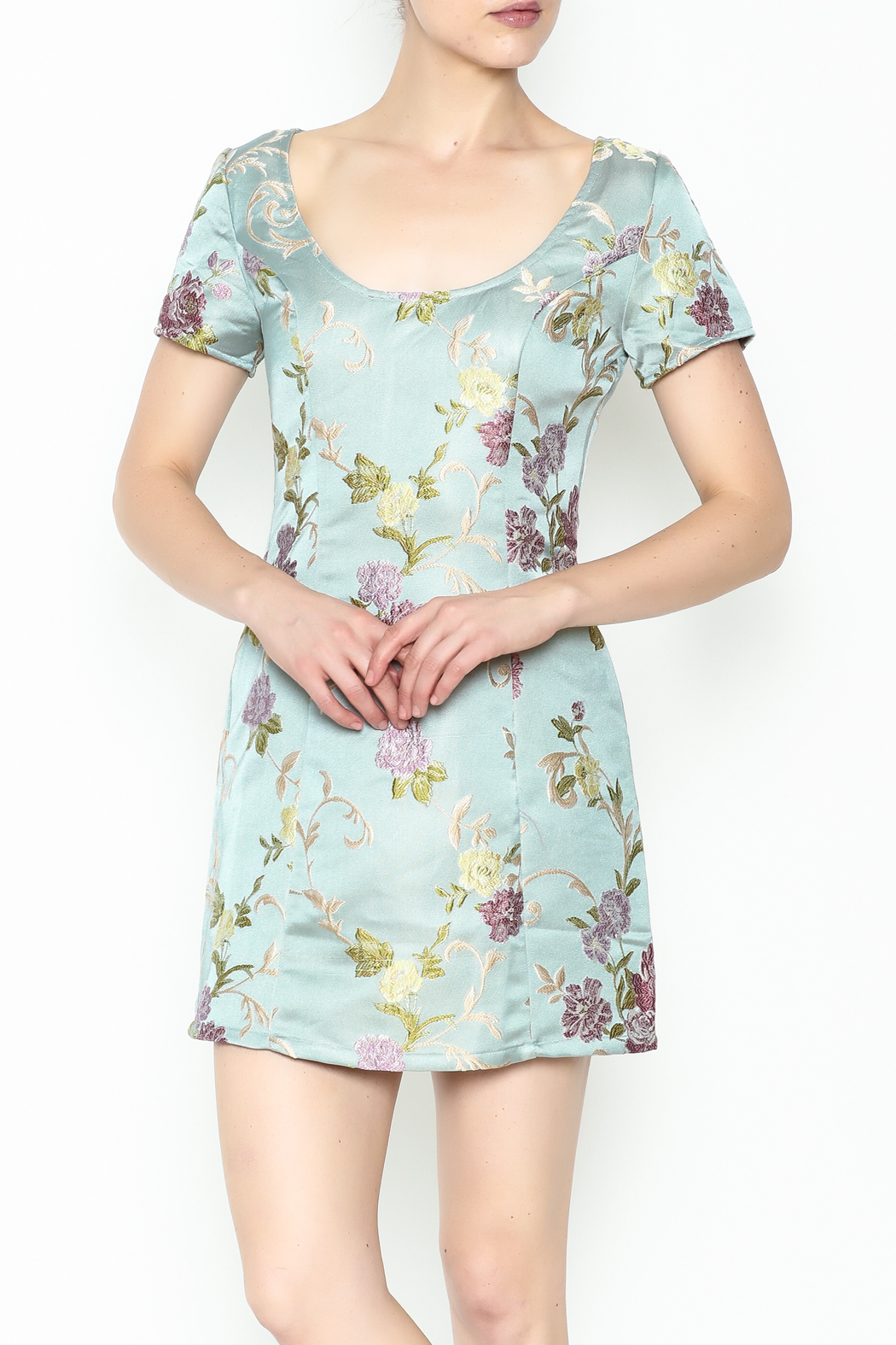 Honey Punch Floral Jacquard Dress - Main Image