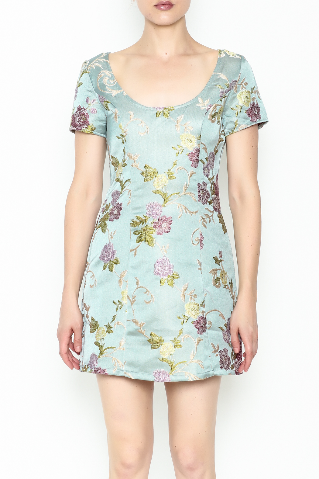 Honey Punch Floral Jacquard Dress - Front Full Image
