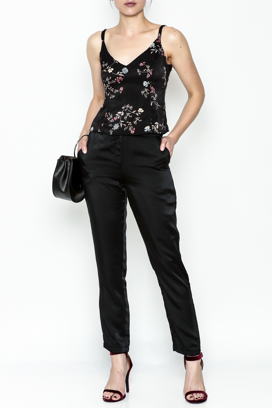 Honey Punch Floral Spaghetti Strap Top - Side Cropped Image