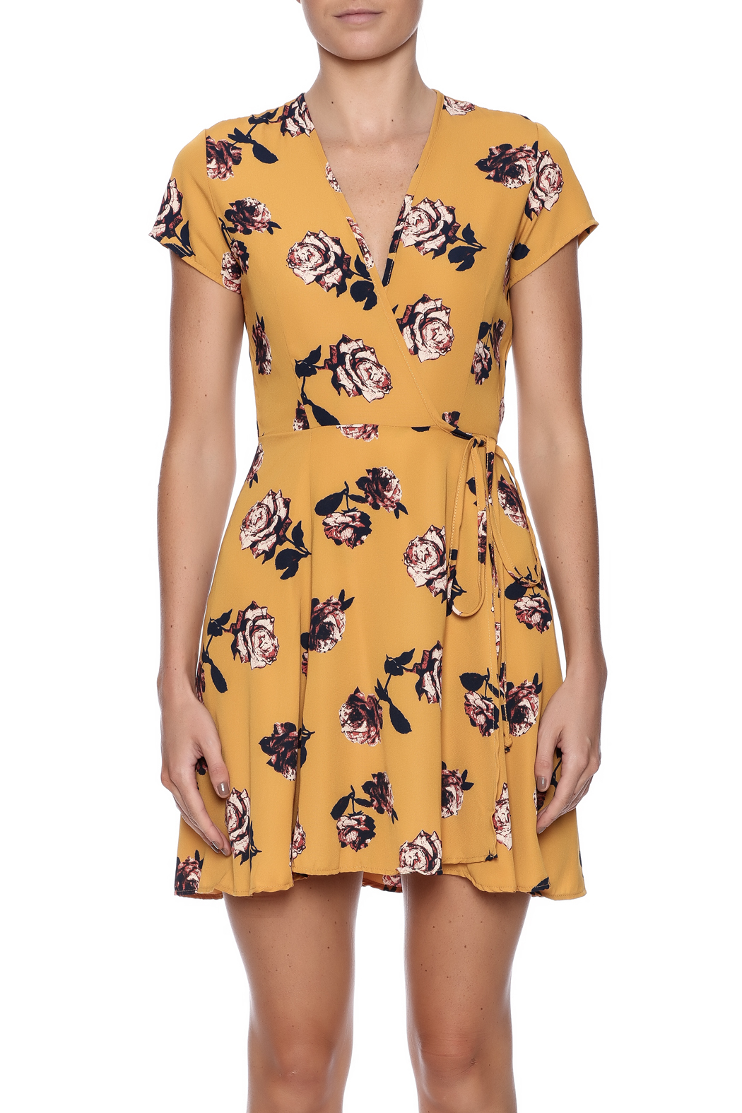 Honey Punch Floral Wrap Dress - Side Cropped Image