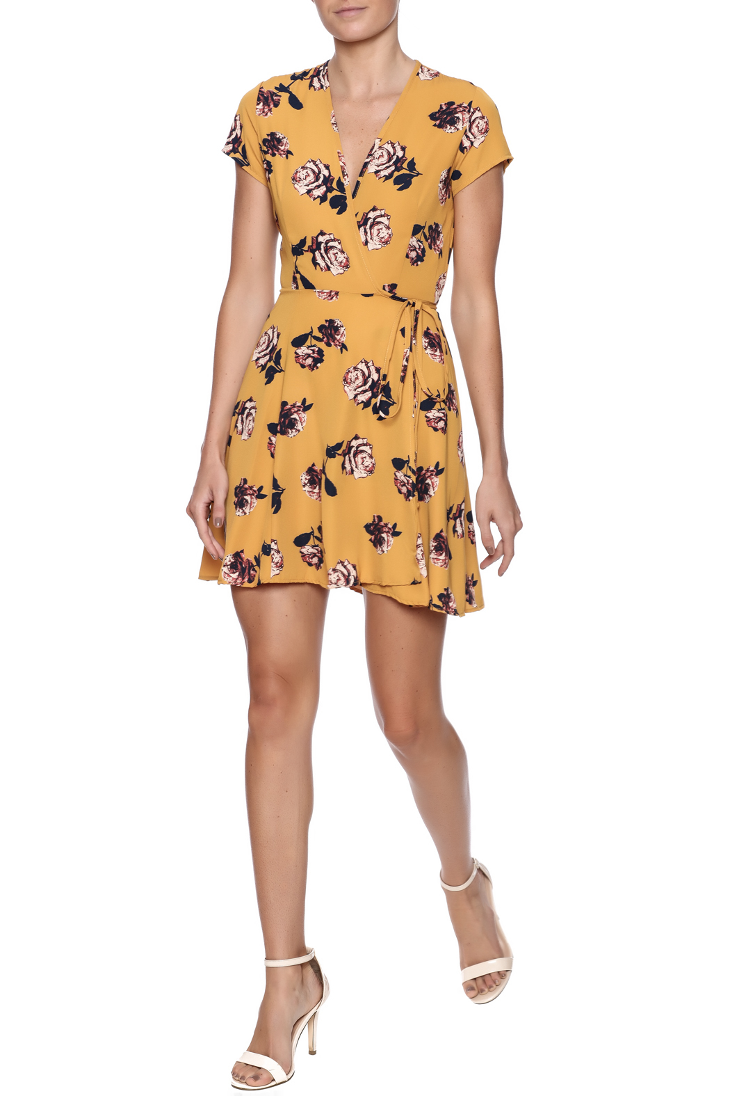 Honey Punch Floral Wrap Dress - Front Full Image