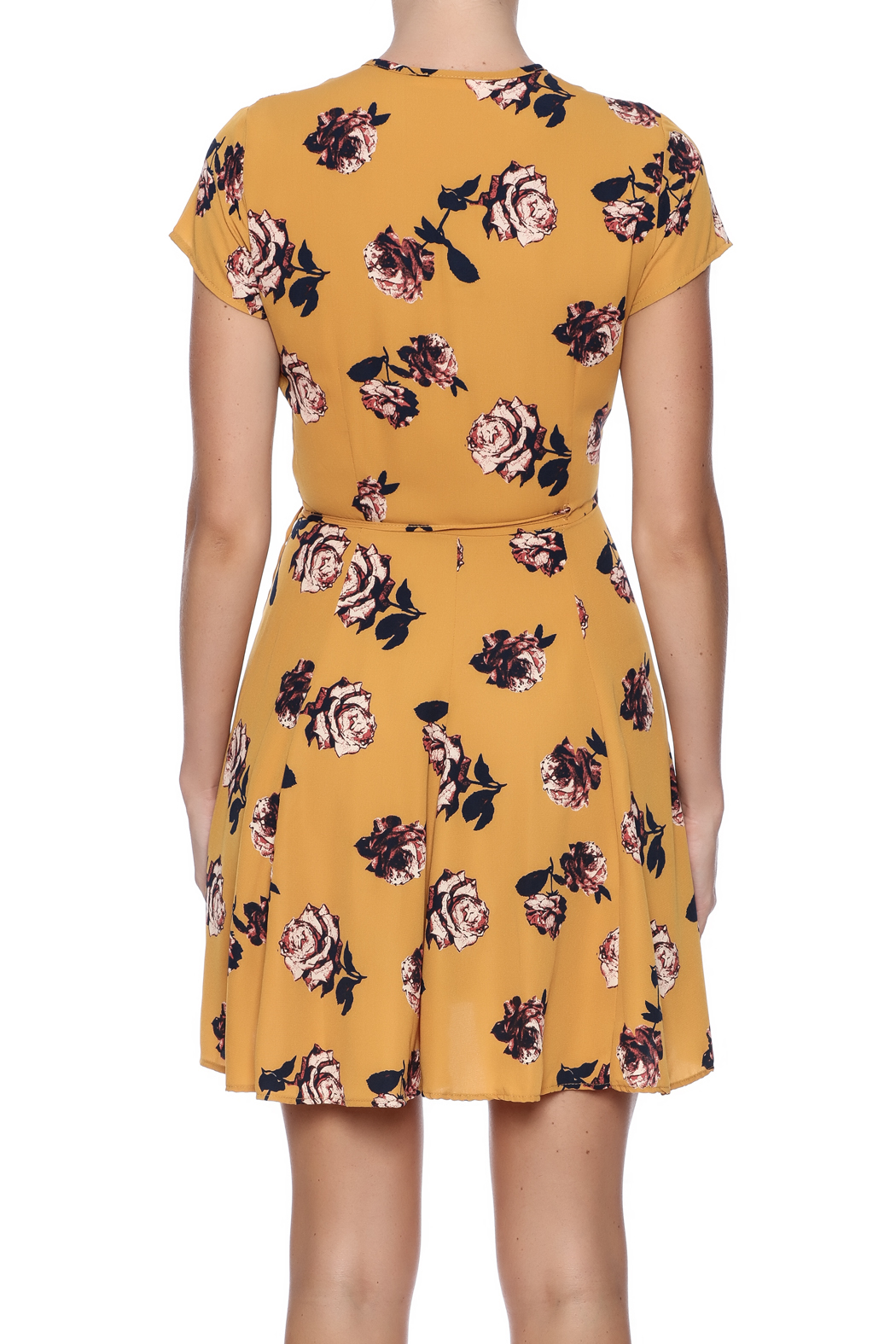 Honey Punch Floral Wrap Dress - Back Cropped Image