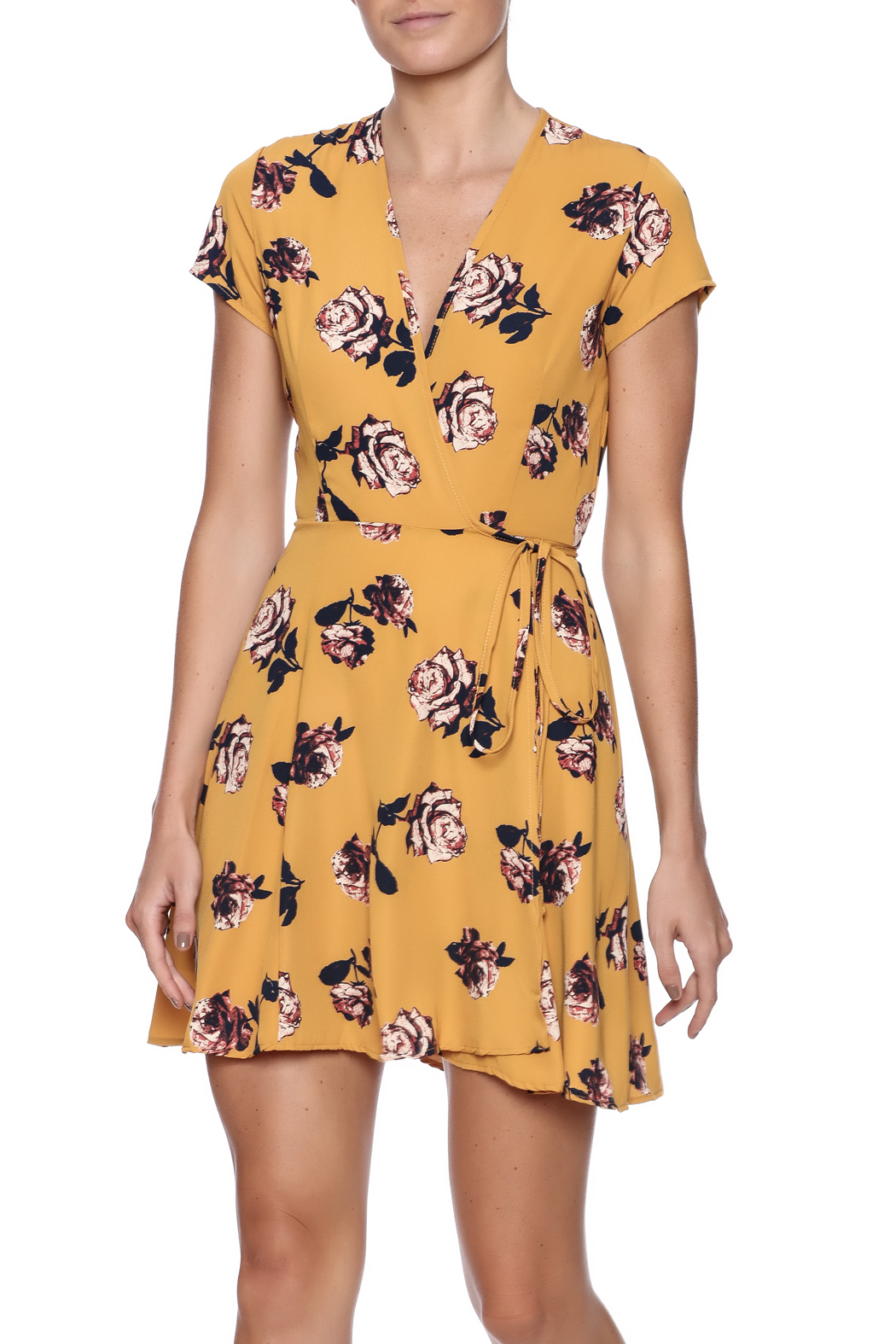 Honey Punch Floral Wrap Dress - Front Cropped Image