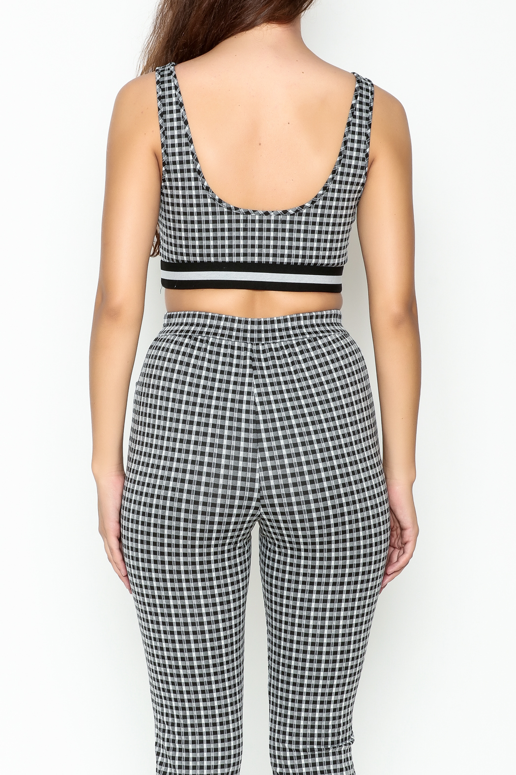 Honey Punch Gingham Bra Top - Back Cropped Image