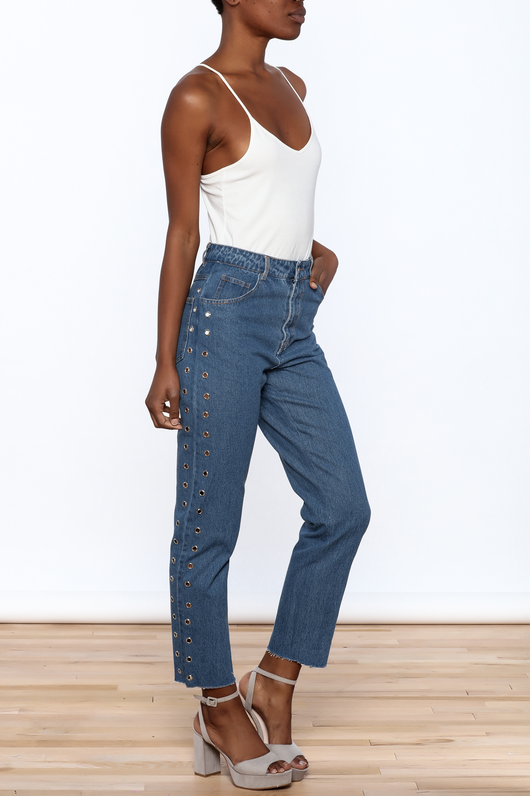 Honey Punch Cropped Boyfriend Jeans - Front Full Image