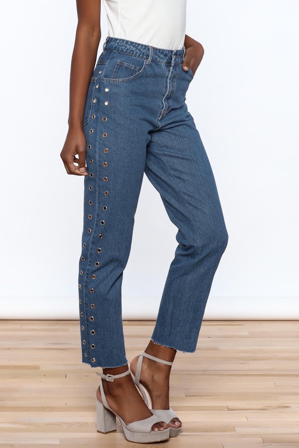 Honey Punch Cropped Boyfriend Jeans - Front Cropped Image